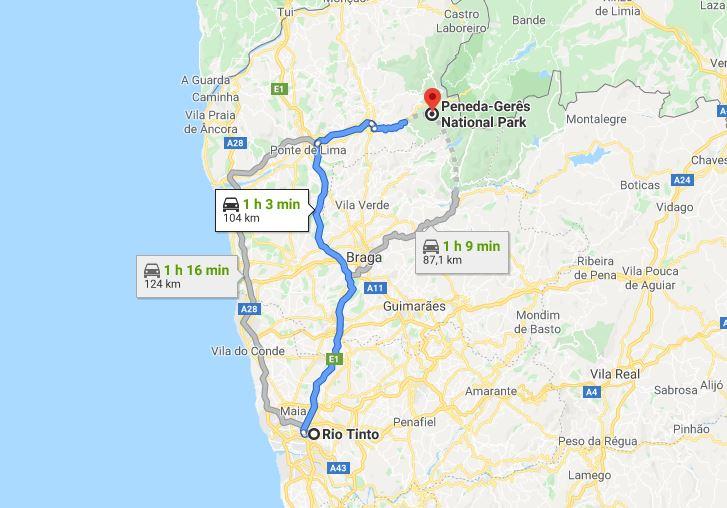 Itinéraire Porto-Peneda